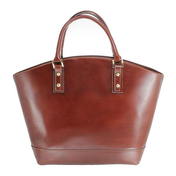 Hnedá kožená taška Chicca Borse Stefania