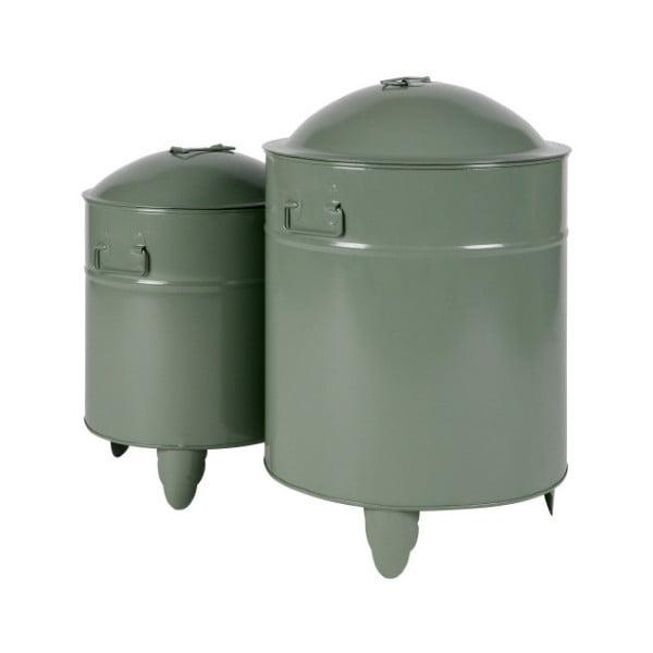 Sada 2 zelených úložných boxů z kovu WOOOD