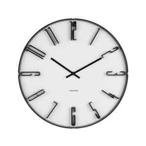 Bílé nástěnné hodiny s manšestrem Karlsson Sentient, ⌀40 cm