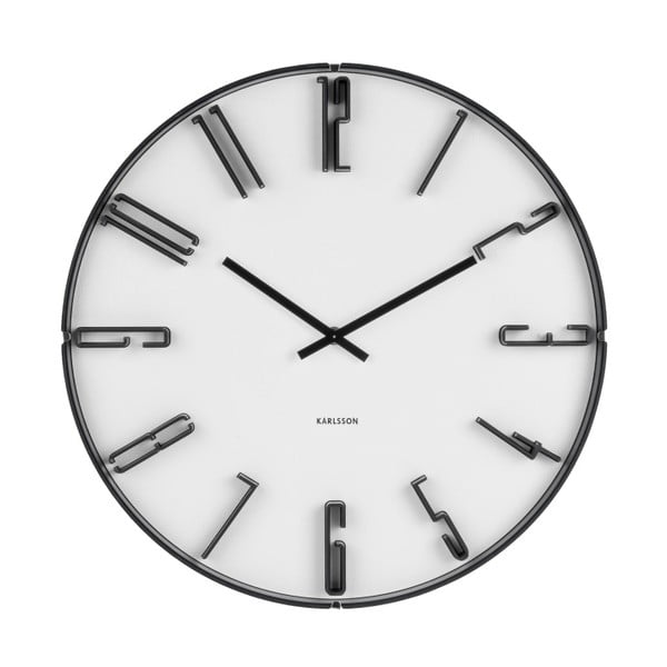 Bílé nástěnné hodiny Karlsson Sentient, ⌀40 cm