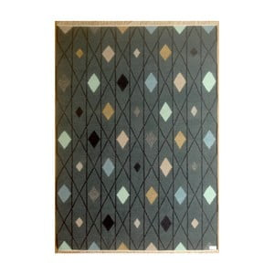 Tmavě šedý ručně tkaný vlněný koberec Linie Design, 140x200cm