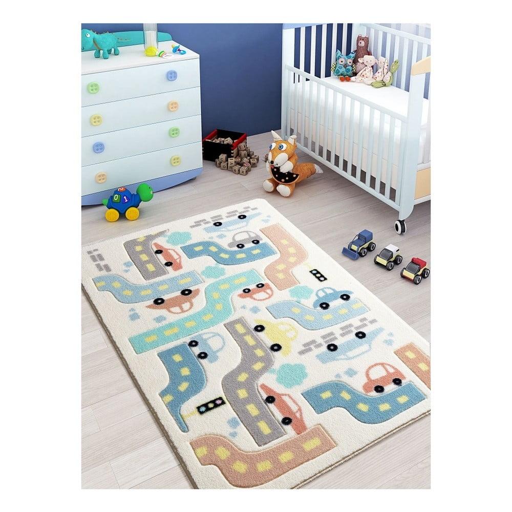 Dětský bílý koberec Confetti Baby Car, 100 x 150 cm