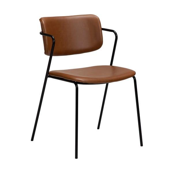 Hnědá židle v imitaci kůže DAN-FORM Denmark Zed