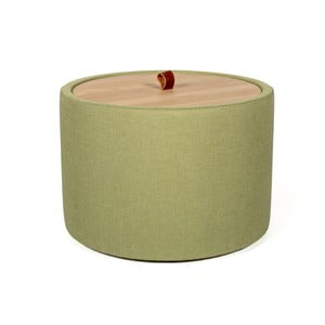 Măsuţă auxiliară cu spaţiu de depozitare şi panou detaşabil, culoare verde, ⌀ 56 cm, Askala Ibisco