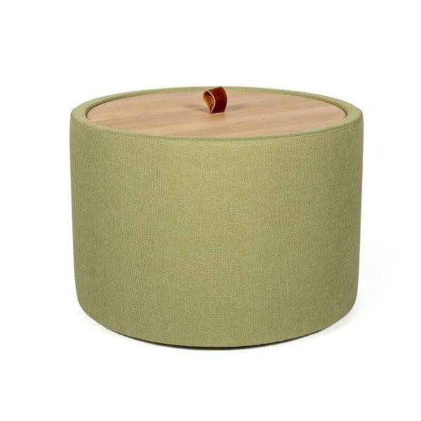 Ibisco zöld tárolóasztal, levehető tölgyfa asztallappal, ⌀ 56 cm - Askala