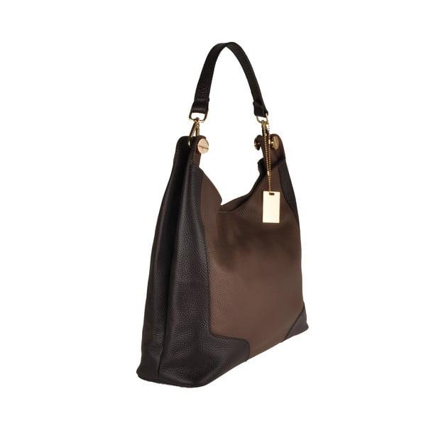 Kožená kabelka Emilio Masi Yala, hnědá/černá