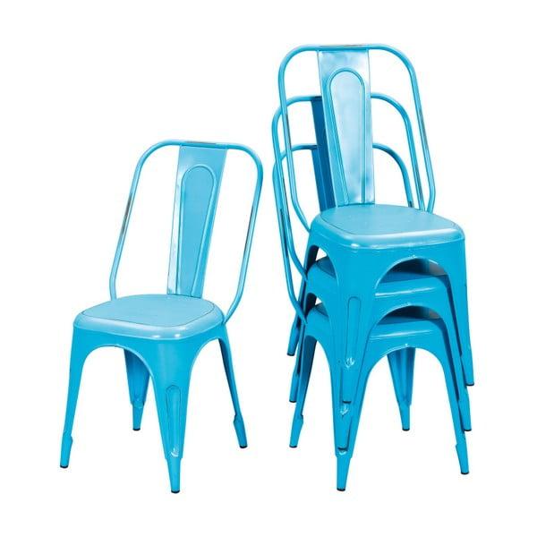 Sada 4 tyrkysových kovových jídelních židlí Interlink Aix