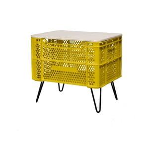 Žlutý konferenční stolek z recyklovaného plastu Really Nice Things Eco