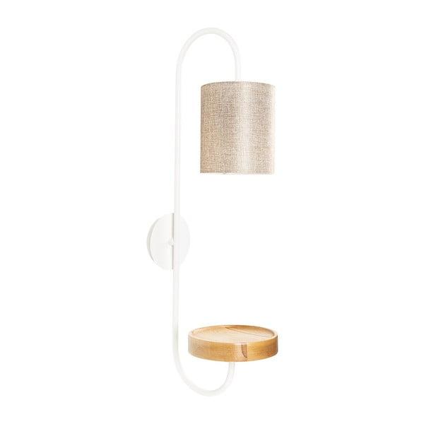 Bílé kovové nástěnné svítidlo s krémovým stínidlem Opviqlights Marylena