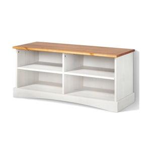 Bílý TV stolek z masivního borovicového dřeva s hnědou deskou Støraa Yvonne
