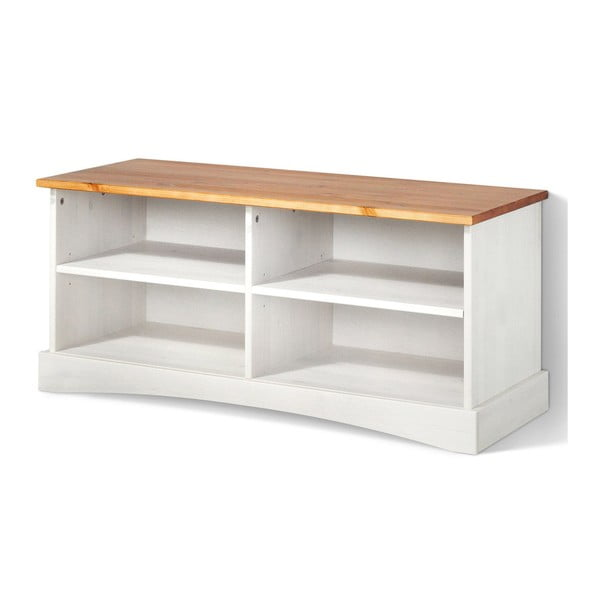 Biała szafka pod TV z litego drewna sosnowego z brązowym blatem Støraa Yvonne