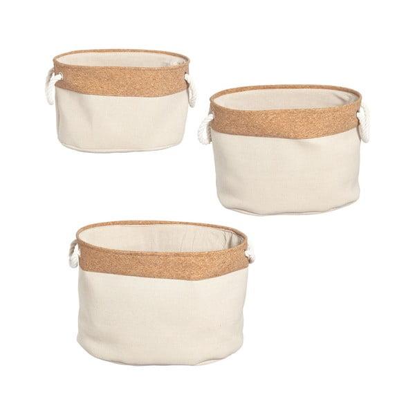 Set 3 coș de depozitare din țesătură de plută Furniteam Storage, alb