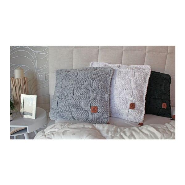 Pletený polštář Catness, šedá kostka, 50x50 cm