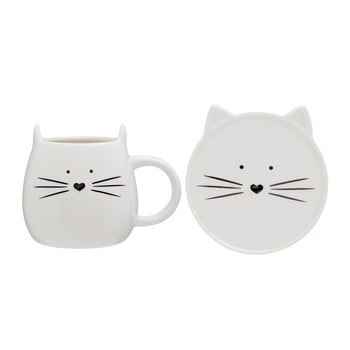 Ceașcă și farfurie Premier Housewares Cat, 380 ml imagine