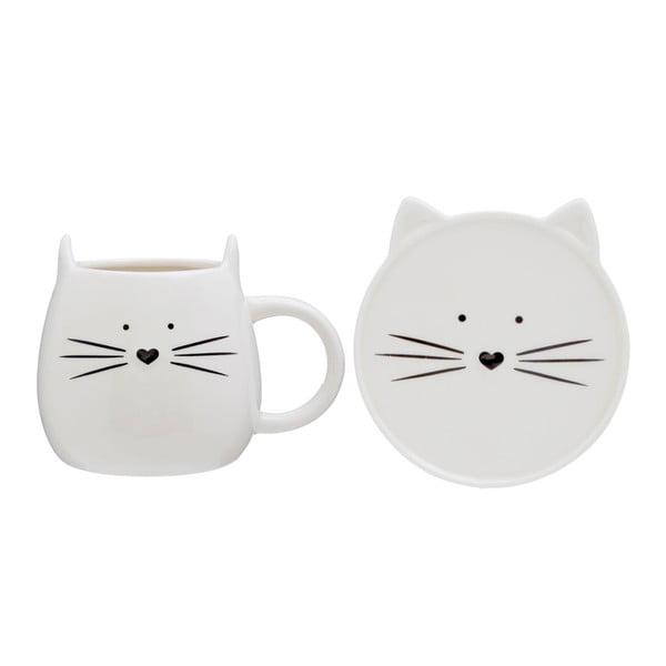 Kočičí šálek s podšálkem Premier Housewares Cat, 380ml