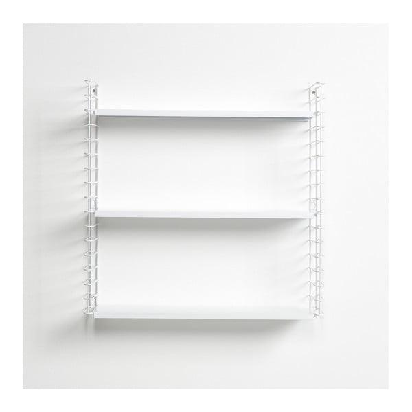 Półka 3-poziomowa z białymi elementami Metaltex Libro, dł. 70 cm