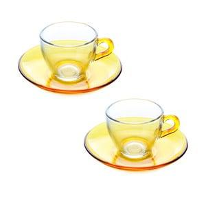 Menší šálek s podšálkem, 2ks, žlutý