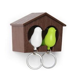 Budka s klíčenkami QUALY Duo Sparrow, hnědá budka/bílá+zelená klíčenka
