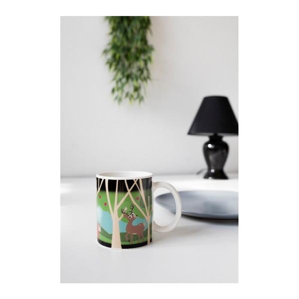 Cană termosensibilă din ceramică Kikkerland Woodlands, 240 ml