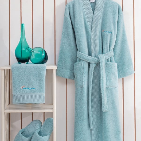 Komplet turkusowego szlafroka damskiego w rozmiarze XL, ręcznika i pantofli Bathrobe Komplet Lady