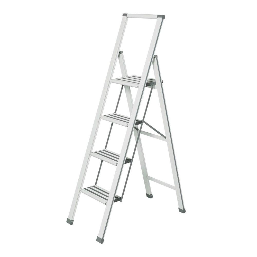 Bílé skládací schůdky Wenko Ladder, 153 cm