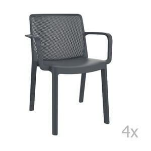 Sada 4 tmavě šedých zahradních židlí s područkami Resol Fresh