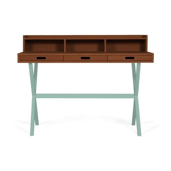 Pracovní stůl z ořechového dřeva se zelenými kovovými nohami HARTÔ Hyppolite, 120x55cm