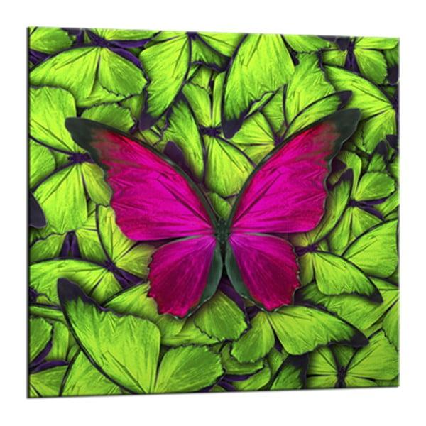 Glasspik Green Butterfly fali kép, 20 x 20 cm - Styler