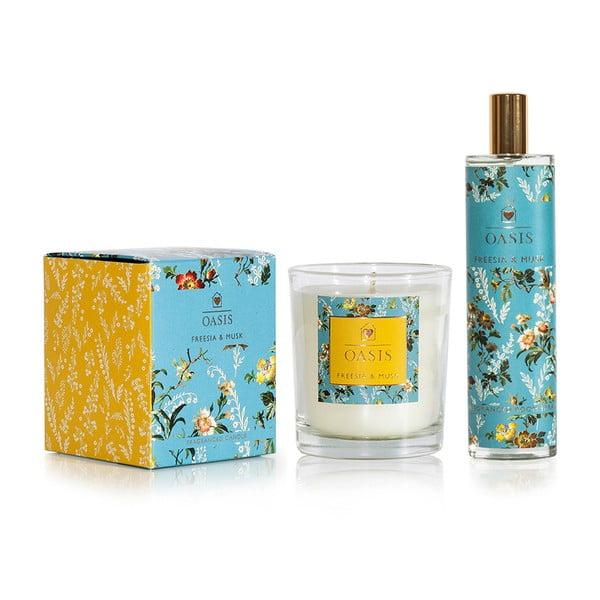Komplet świeczki i spreju do wnętrz o zapachu frezji i piżma Bahoma London Oasis Leighton
