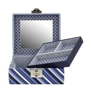Modrá šperkovnice Friedrich Lederwaren Diagona, 17x15cm