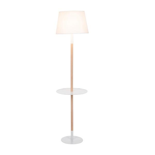 Stojací lampa s odkládacím stolkem Vintage White