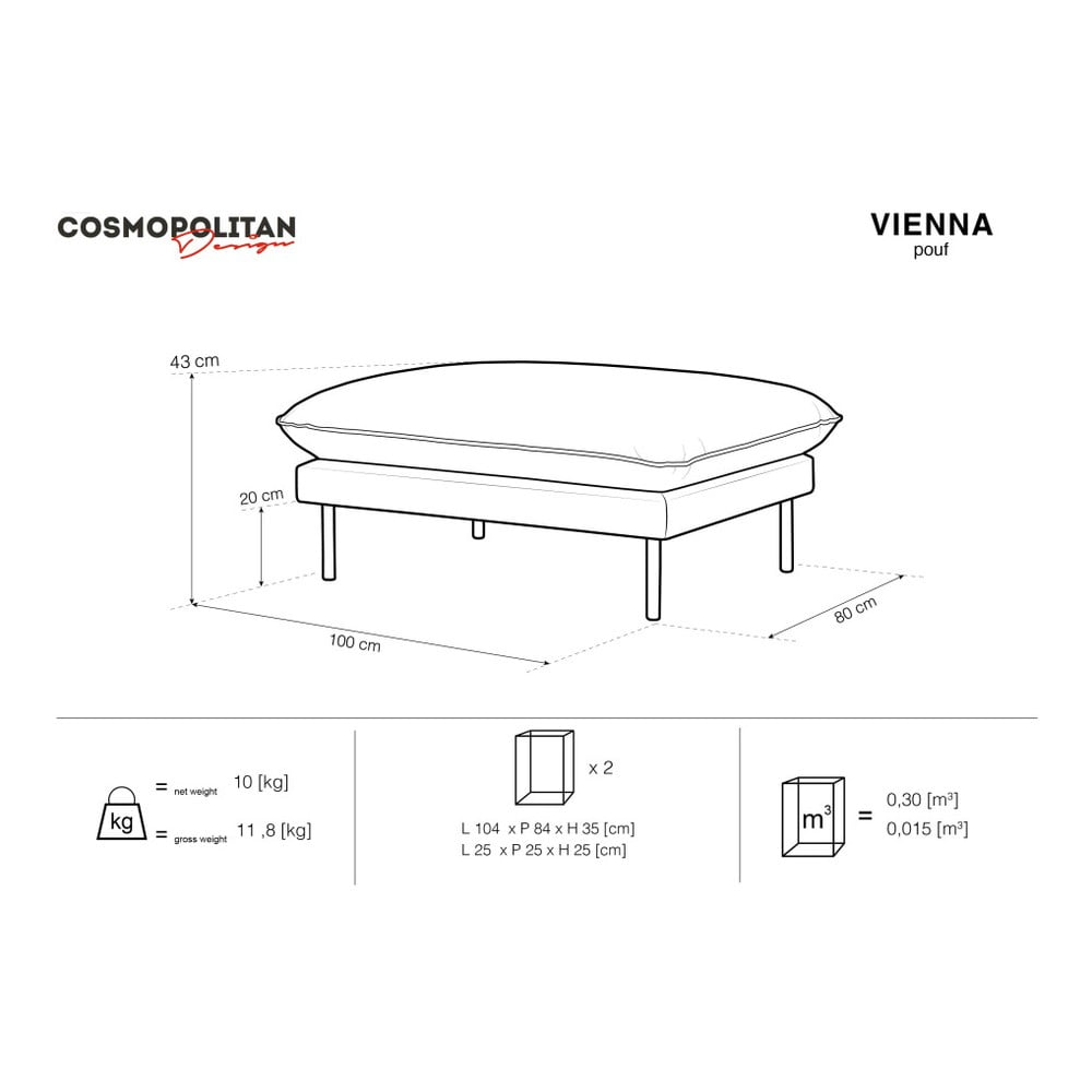 Produktové foto Béžová sametová podnožka Cosmopolitan Design Vienna, 100 x 80 cm