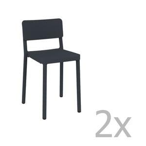 Sada 2 tmavě šedých barových židlí vhodných do exteriéru Resol Lisboa, výška 72,9 cm