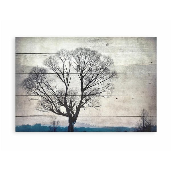Tablou decorativ din lemn de pin Really Nice Things Tree, 40 x 60 cm