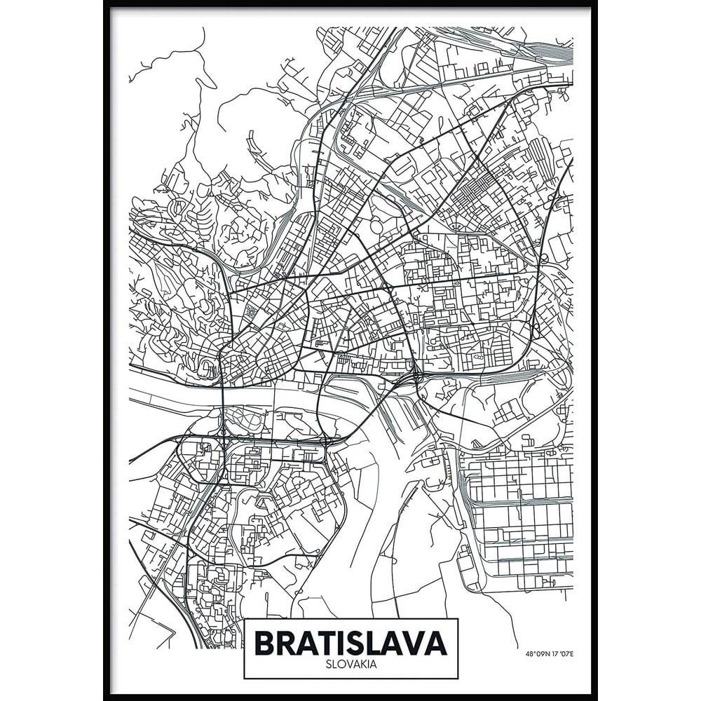 Nástěnný obraz MAP/BRATISLAVA, 40x50cm