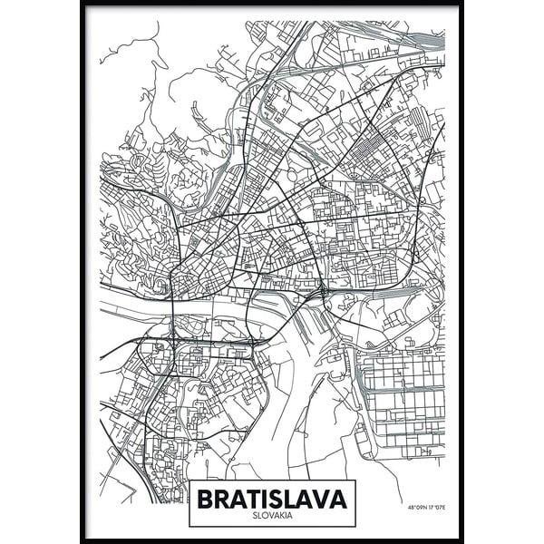 Nástenný plagát v ráme MAP/BRATISLAVA, 70 x 100 cm