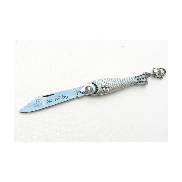 Český nožík rybička na hřiby, stříbrná s krystaly