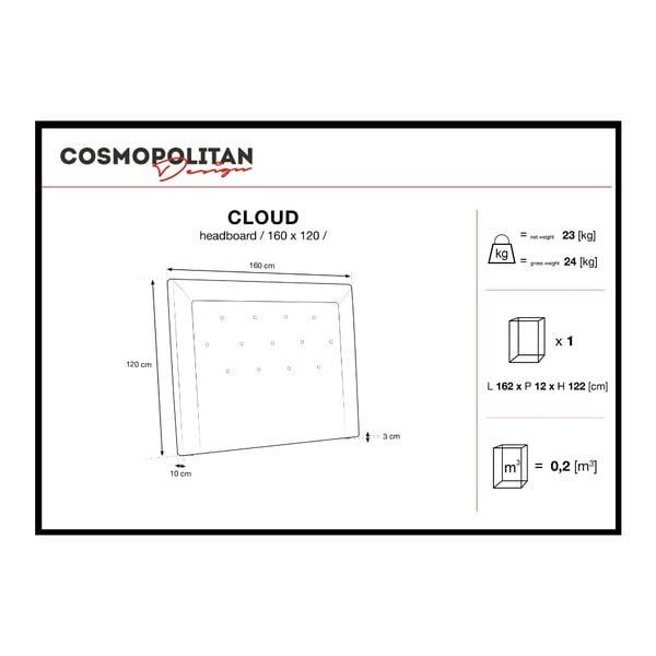 Šedé čelo postele Cosmopolitan Design Cloud, šířka 160cm