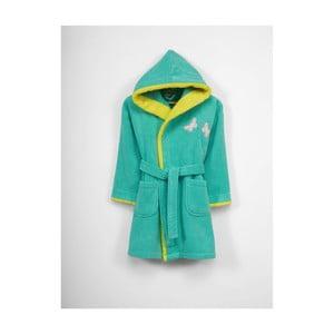 Dětský zelený bavlněný župan s kapucí, 9-12 let