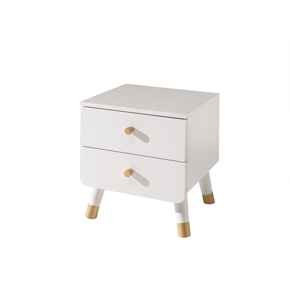 Bílý dětský noční stolek z borovicového dřeva Vipack Billy