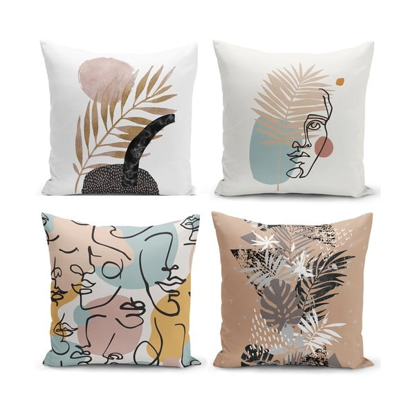 Set 4 fețe de pernă Minimalist Cushion Covers Cesso, 45 x 45 cm