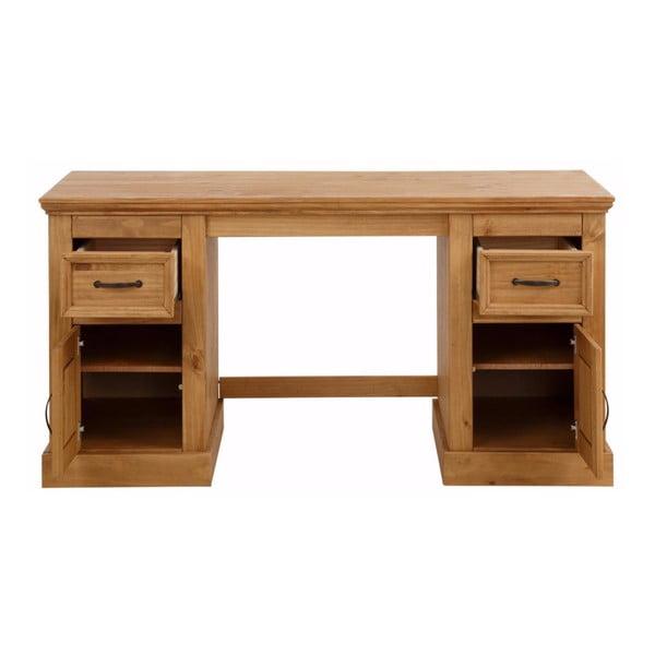Hnědý psací stůl z masivního borovicového dřeva Støraa Suzie