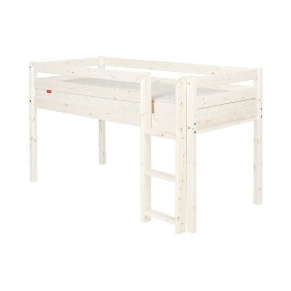 Bílá středně vysoká dětská postel z borovicového dřeva Flexa Classic, 90x200cm