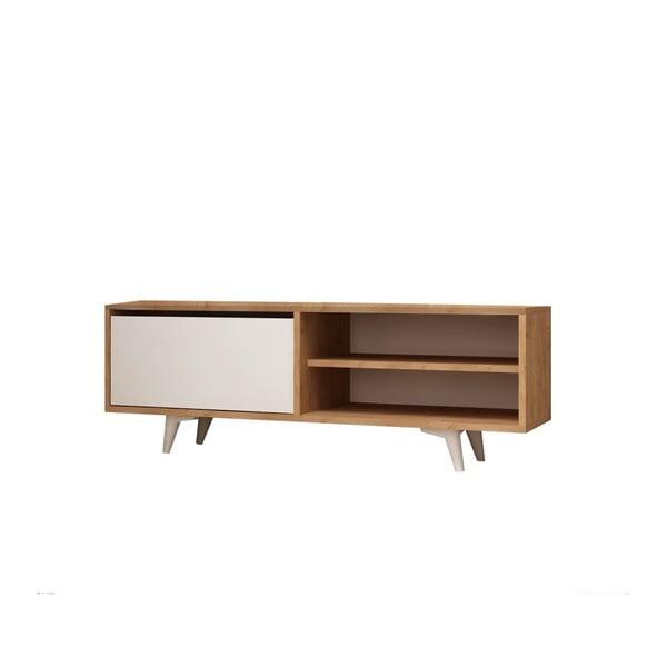 Bílý TV stolek s detaily v dekoru dubového dřeva Garetto Maku