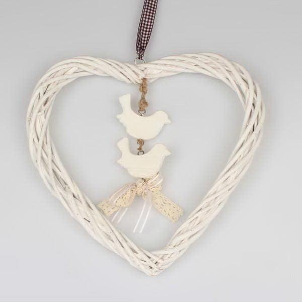 Biała wisząca dekoracja rattanowa Dakls Heart Small