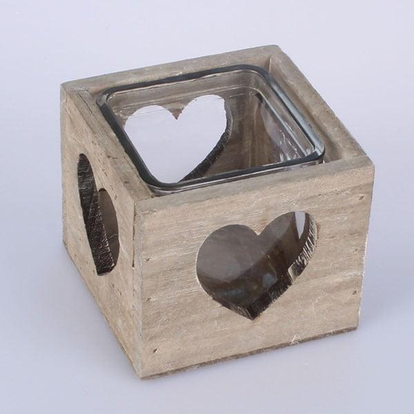 Dřevěný svícen Heart