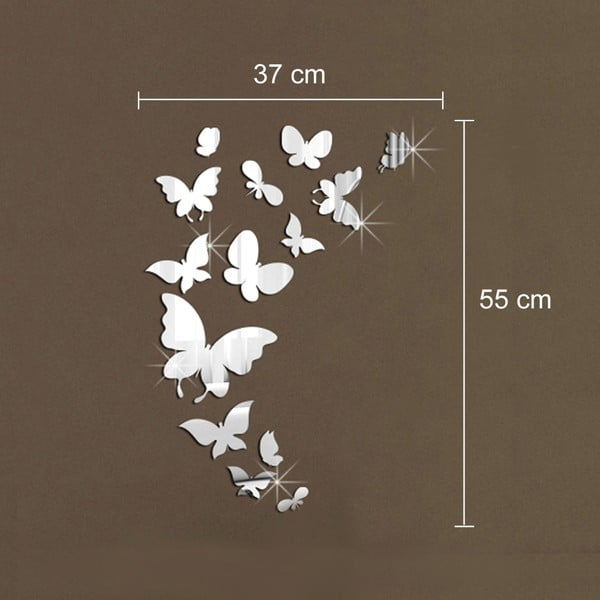 Sada 14 zrcadlových samolepek WALPLUS Motýlci