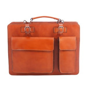 Hnědo-oranžová kožená taška Chicca Borse Gaia