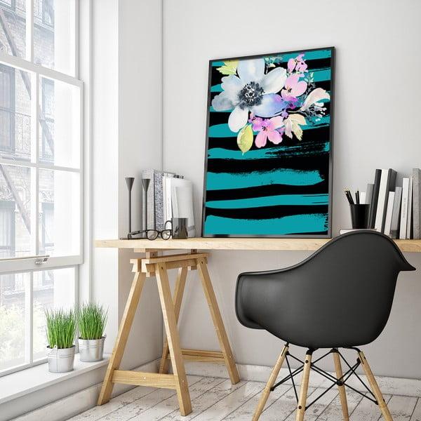 Plakát s květinami, tyrkysovo-černé pozadí, 30 x 40 cm