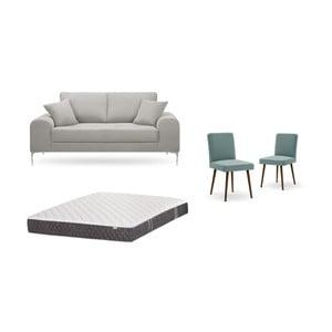 Set dvoumístné světle šedé pohovky, 2šedozelených židlí a matrace 140 x 200 cm Home Essentials